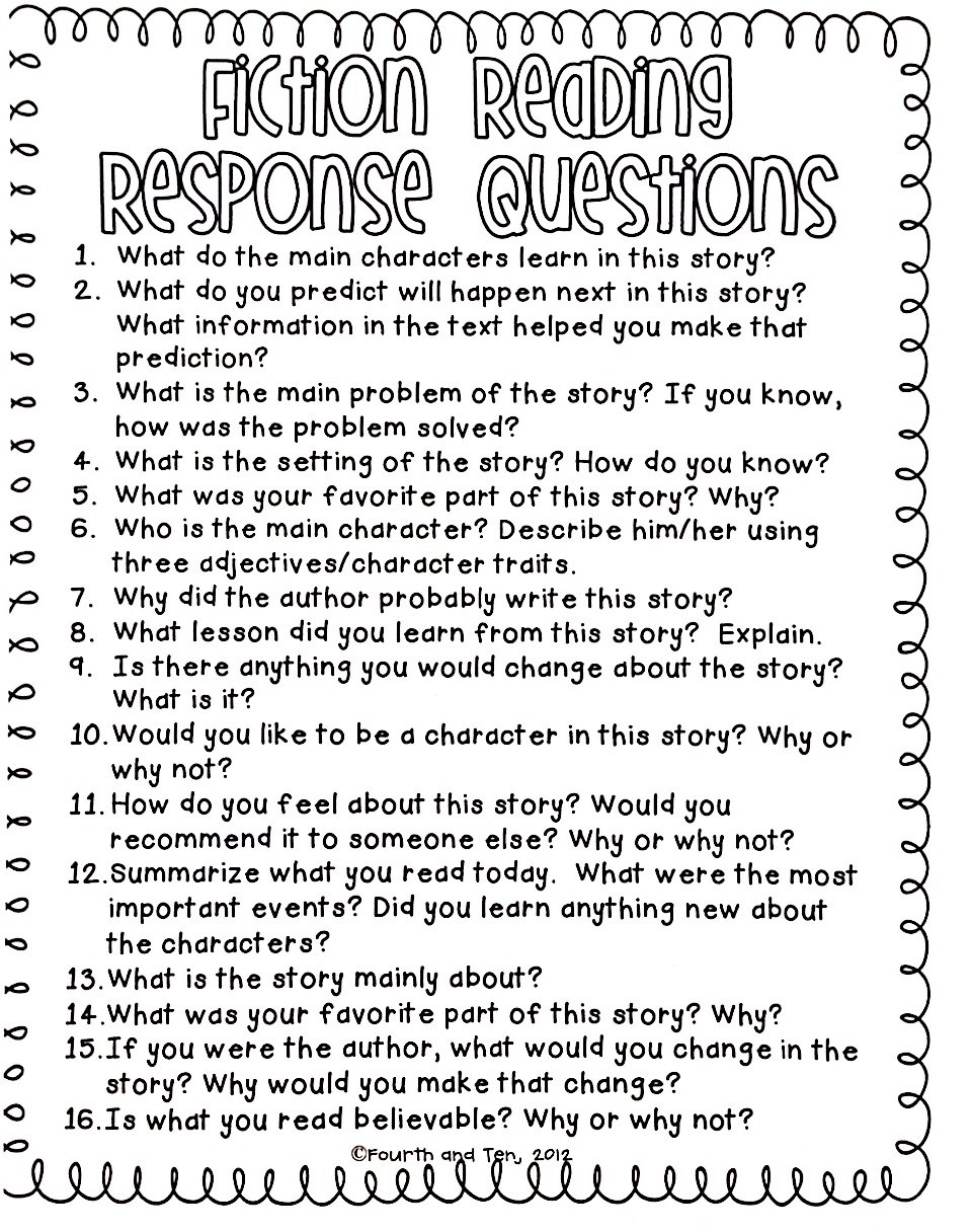 Worksheet Reading Questions class handouts cobblestone elementary fiction reading response questions